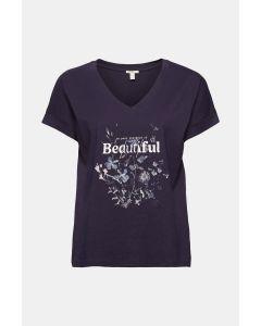 T-shirt en mélange de matières à imprimé, 100 % coton biologique