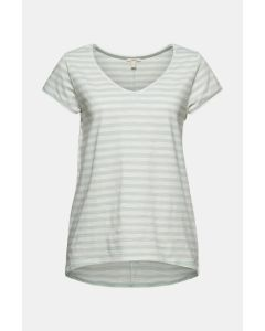 T-shirt à rayures, 100 % coton biologique, aqua