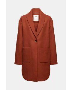 Manteau à col châle en laine mélangée