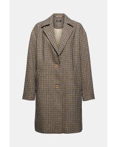 Manteau blazer à carreaux et teneur en laine